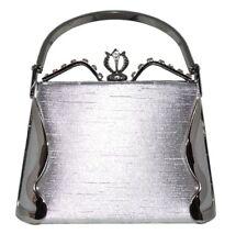 Prom Wedding Formal Silver Satin Rhinestone Metal Frame Box Handbag Purse NWT