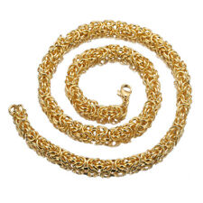 """Fashon 8mm 24"""" Men stainless steel Gold Tone Byzantine Antiqued necklace chain"""