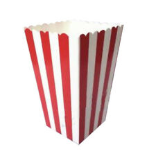 12 Cinema Stripes Treat Party Small Candy Favour Popcorn Bags Boxes,red L9F9