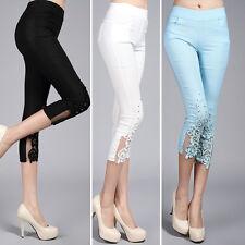 Women Stretch Leggings Elastic Waist Cropped Slim Crochet Rhinestone Lace Pants
