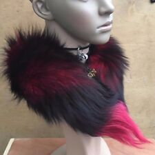 bright red black genuine real fox tail fur collar scarf neck warmer shawl stole