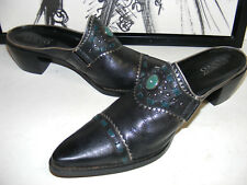FRANCO SARTO Black LEATHER Ankle BOOTS MULES Womens 8.5 Western COWBOY Cowgirl