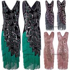 Vintage Retro 1920s Dress Flapper Costumes Peacock Style Tassels Fringe Dresses