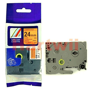 TZ-B51 Label Tape Compatible with Brother P-touch Tze-B51 Black on Fluo orange 2