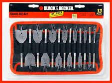 Black Decker 13-Piec 1/4-11/2 Inch Spade Drill Bit Assortment 1 set whith case