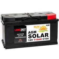 LANGZEIT 12V 110AH AGM Batterie Solarbatterie Wohnmobil Boot Schiff Akku 100Ah