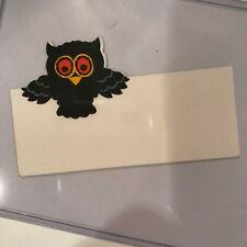 Old Vintage Halloween Cardstock Name Card Placecard Flying Owl Hallmark ny