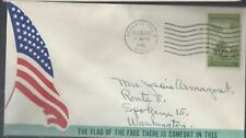 8/29/43 The Flag of the Free there is Comfort in thee. WWII Patriotic Cover