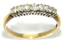 Ladies / Womens  9carat 9ct Gold Ring - 7 Diamonds in a Row - N 1/2 - 1.6 Grams