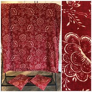 Ralph Lauren Cold Spring King Duvet Cover + 2 Euro Pillow Shams Red Floral Italy