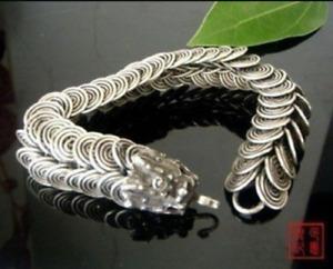 RARE CHINESE Tibetan silver inlay dragon bracelet