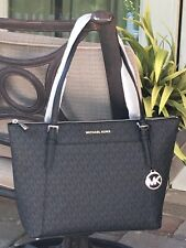 MICHAEL KORS CIARA LARGE ZIP TOTE SHOULDER BAG MK BLACK SIGNATURE $398