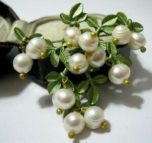 Gorgeous Vintage Style Real Baroque Pearl BEAD White Berries Enamel Pin BROOCH
