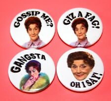 SET OF 4 FUNNY DOT COTTON EASTENDERS BUTTON PIN BADGES