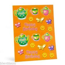 TEA PARTY 4 SHEETS OF HAPPY BITHDAY STICKERS  BIRTHDAY SUPPLIES