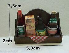 étagère garni miniature, cuisine maison de poupée, vitrine, bouteille,boite *CL7