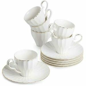 BTäT- Tea Cups and Saucers Set of 6 with Gold Trim and Gift Box Cappuccino