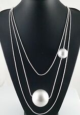 Matt Silver 3 Rows  Snake Chain Sphere Statement Layered Lagenlook Long Necklace