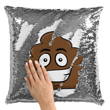 Sequin Throw Pillow Modern Smily Poop Emoji Flip Mermaid Silver Toss Pillow