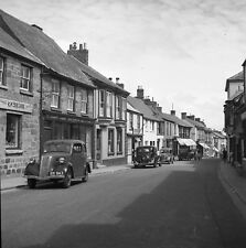 B/W 6x6 Negative Helston High Street Shops Cars Cornwall 1950s +Copyright Z253