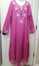 SOFT SURROUNDINGS Fully Lined Pink Embellished Beaded Maxi Caftan Dress Size XL