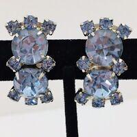 Vintage Blue Rhinestone Statement Clip Earrings Silver Tone