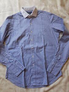 Ralph Lauren Polo Hemd Customer Fit Gr. 16, 40/41 Blau Weiß Langarm Anzughemd