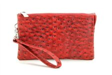 Genuine Leather Wristlet Wallet Travel Clutch - Zipper Money Compartment Ostrich