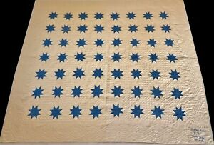 Unused Signed Antique Late 1800's Hand Stitched 8-9 spi Blue Star Quilt 89x78