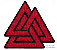 Red Valknut Patch iron-on embroidered Three-Triangle Knot Odin Norse Mythology