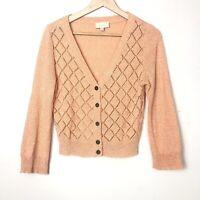 Modcloth Argyle Knit Preppy V-Neck Peach Coral Button Cardigan Size M
