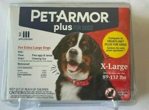 Pet Armor Plus Dogs XL 89-132lbs 3 applications
