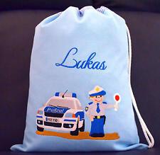 Turnbeutel Kinder Wäschebeutel - WUNSCHNAME Sportbeutel Polizei Auto Polizist