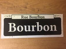 "TIN SIGN "" Bourbon St"" Historic New Orleans Vieu Carre' Vintage Street Sign Deco"