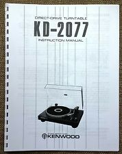 Kenwood KD-2077 Turntable Owners Manual