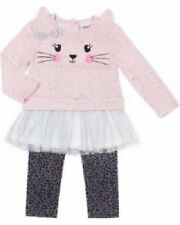 Little Lass Pink Tutu Kitty Cat Top & Leggings Outfit Baby Girl 3-6 Months NEW