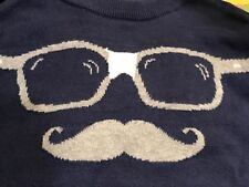 NWT Old navy boy sweater mustache with glasses navy, XXL