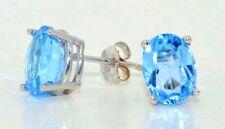 2 Ct Blue Topaz 7x5mm Oval Shape Stud Earrings White Gold Silver