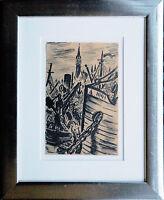 Frans Masereel: Hafen 1920er Jahre Tusche-Zeichnung original Schiffe Antwerpen