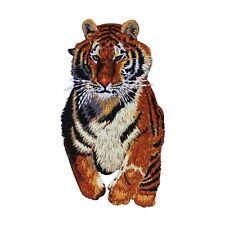 Majestic Running Tiger Patch Big Cat Zoo Animal Embroidered Iron On Applique