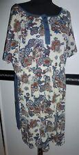 Damen kurzarm long Shirt Tunika Indian Muster blau creme rot Gr. 46 / 48 NEU