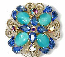 BIG BEAUTIFUL Vintage JULIANA DeLizza Elster D&E Pin Brooch Blue AB Rhinestone