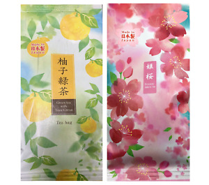 SET of 2 Pack Japanese TA-FU Premium Green Tea Bags Sakura Blossom & Yuzu Citron