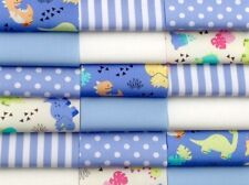 """Fabric patchwork squares 30 x 4"""" 10cms cotton quilting craft baby boy blue 9W"""