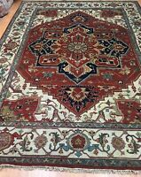 "8'8"" x 11'10"" New Indian Ser api Oriental Rug - Hand Made - 100% Wool"