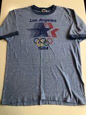 Vintage 80s Levis 1984 Olympics Ringer T Shirt Men's Sz M Blue Heathered Tee