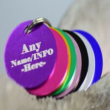 Personalised Pet Tags Engraved Dog Cat Charm Name Collar Animal ID circle tag