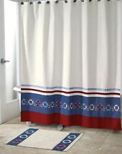 AVANTI Nautical Life Preservers SHOWER CURTAIN Embroidered NEW