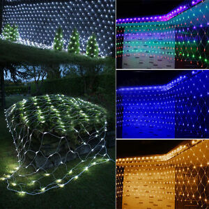 Christmas Trees Outdoor Garden Party Decor LED Net Lights Mesh Festival Lamps