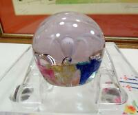 """VINTAGE MULTICOLORED FLOWERS AROUND THIN PETAL WHITE FLOWER 2 1/8"""" PAPERWEIGHT"""